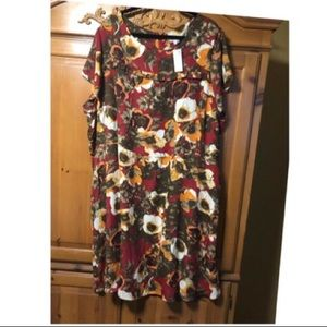 Avenue dress. Knee length.Red, brown,yellow white